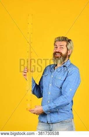 Teaching Geometry. Long Or Short. Bearded Man Use Ruler. Education Concept. School Classes. Studying