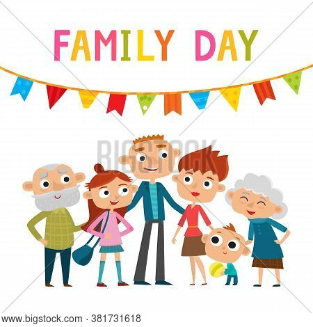 Vector Illustration Of Happy Family Standing Isolated On White