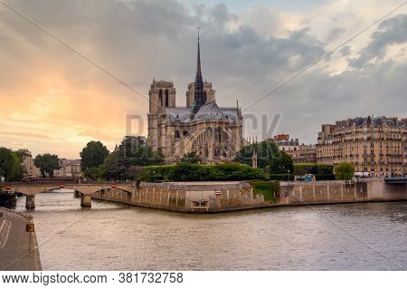 Cathedral Notre Dame De Paris Is A Most Famous Gothic, Roman Catholic Cathedral (1163 - 1345) On The