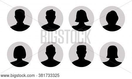 Silhouette Head, Avatar Face, Person Icon People. Male And Female Profile. Vector Illustration Set