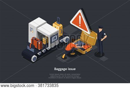 Airport Luggage Issue Concept. Baggage Or Luggage Checking, Security Control. Airport Bags On A Bagg