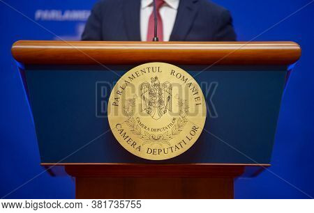 Bucharest, Romania - August 20, 2020: The Tribune From Which The Deputies Of The Chamber Of Deputies