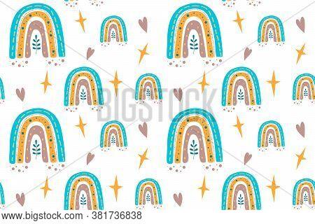 Seamless Childish Pattern With Trendy Rainbows. Creative Scandinavian Kids Texture For Fabric, Wrapp