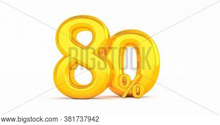 80% Off. Gold Eighty Percent. Gold Eighty Percent On White Background. 3d Render.
