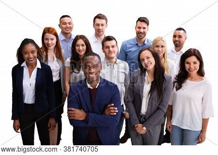 Diverse Group Of Casual Business Persons On White Background