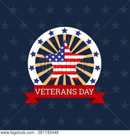 Happy Veteran's Day Logo For American Veteran. Vector Illustration