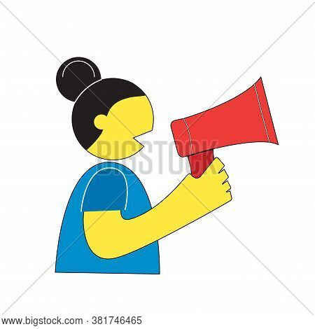 The Girl Shouts Into A Megaphone. Concept Of An Action, Rally, Image For Marketing And Design. Color