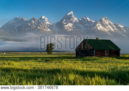 Rustic Building, Part Of The Historic Morman Row Homestead In Antelope Flats, In Grand Teton Nationa