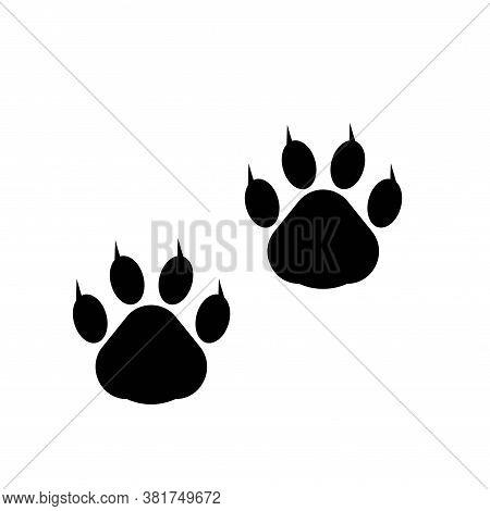 Paw Prints. Logo. Vector Illustration. Isolated Vector Illustration. Black On White Background. Eps