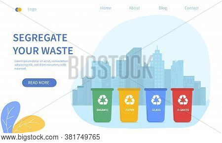 Waste Sorting City - Segregate Your Waste - With Colour Coded Bins For Recycling Of Household Rubbis