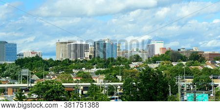 Wilmington, Delaware, U.s.a - August 4, 2020 - The View Of The Buildings Near Downtown From Intersta