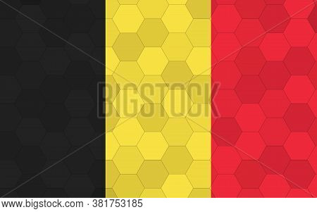 Belgium Flag Illustration. Futuristic Belgian Flag Graphic With Abstract Hexagon Background Vector.