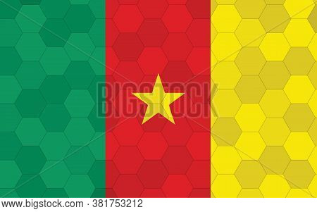 Cameroon Flag Illustration. Futuristic Cameroonian Flag Graphic With Abstract Hexagon Background Vec
