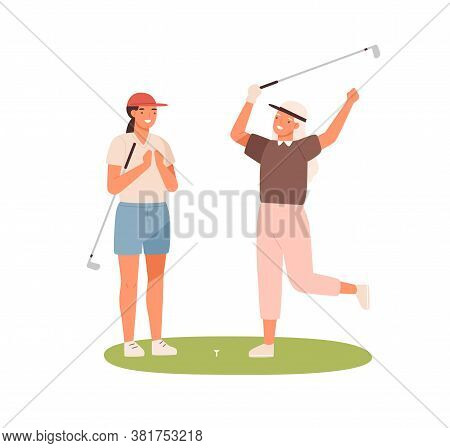 Happy Female Friends Celebrating Win Hit At Hole By Ball Vector Flat Illustration. Smiling Elderly A