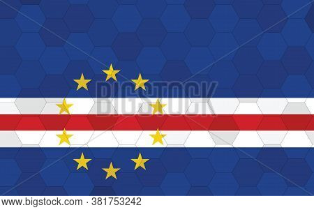 Cape Verde Flag Illustration. Futuristic Cape Verdean Flag Graphic With Abstract Hexagon Background