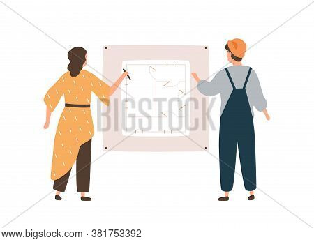 Female Architect And Male Engineer Worker Drawing Construction Plan Vector Flat Illustration. Archit