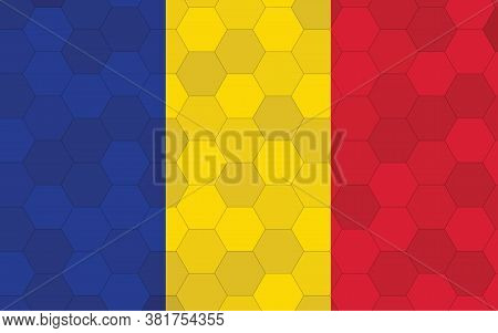 Chad Flag Illustration. Futuristic Chadian Flag Graphic With Abstract Hexagon Background Vector. Cha