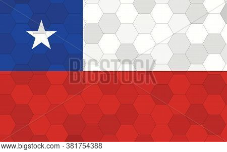 Chile Flag Illustration. Futuristic Chilean Flag Graphic With Abstract Hexagon Background Vector. Ch