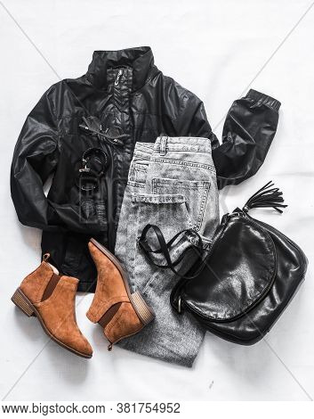 Women's Clothing Black Jacket Windbreaker, Mom's Gray Jeans, Black Leather Bag, Brown Suede Chelsea