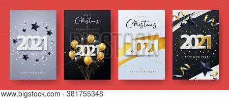 Happy New Year 2021. Xmas Vector Illustration Of Paper Cut 2021 With Sparkling Confetti, Silver And