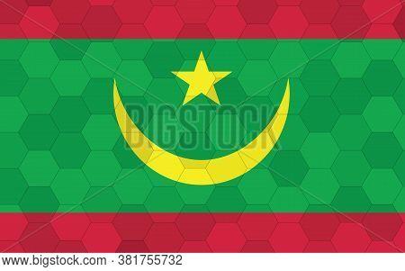 Mauritania Flag Illustration. Futuristic Mauritanian Flag Graphic With Abstract Hexagon Background V