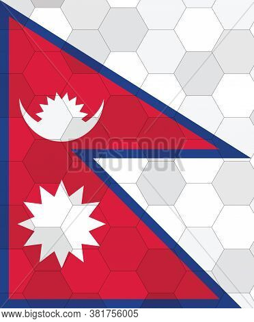 Nepal Flag Illustration. Futuristic Nepali Flag Graphic With Abstract Hexagon Background Vector. Nep