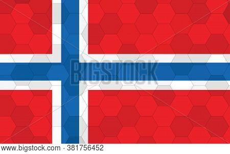 Norway Flag Illustration. Futuristic Norwegian Flag Graphic With Abstract Hexagon Background Vector.