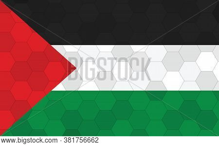 Palestine Flag Illustration. Futuristic Palestinian Flag Graphic With Abstract Hexagon Background Ve