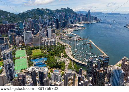 Causeway Bay, Hong Kong 18 July 2020: Top view of Hong Kong commercial district