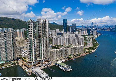 Sai Wan Ho, Hong kong 20 June 2020: Top view Hong Kong city