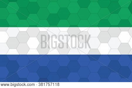 Sierra Leone Flag Illustration. Futuristic Sierra Leonean Flag Graphic With Abstract Hexagon Backgro