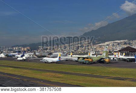 Quito, Ecuador, June 26, 2018: Ecuadorian Air Force Lockheed C-130  Territory of Quito Airport in Ecuador.