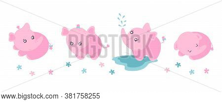 Set Of Four Cute Little Elephants. Clipart With Pink Elephants For Children Products Designs. Flat V