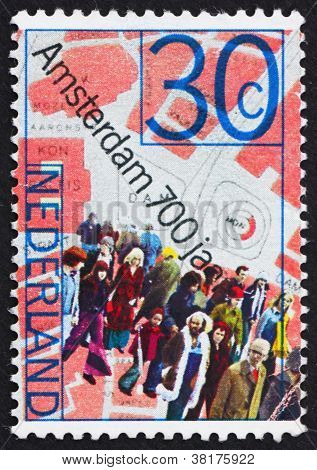 Postage stamp Netherlands 1975 People and Map of Dam Square