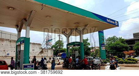 District Katni, India - July 24, 2019: Reliance Oil Service Station In Asia, Fueling And Gas Locatio