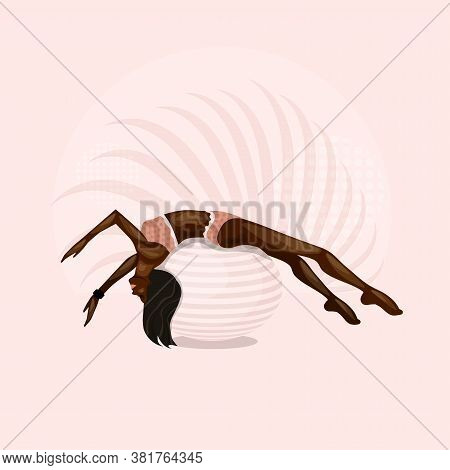 African American Girl Goes In For Sports On Gymnastic Ball. Aerobics On Fit-ball.  Healthy Lifestyle