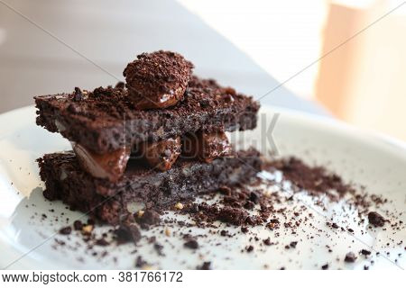 Delicious Chocolate Brownie Dessert On Plate, Closeup View