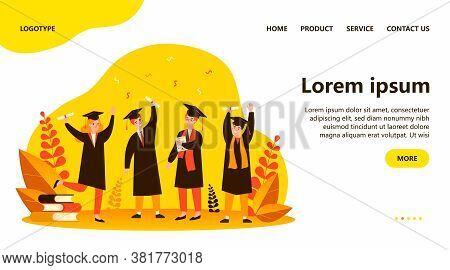 Happy Graduated Students Flat Vector Illustration. Cartoon Girls And Guys Celebrating Academic Diplo