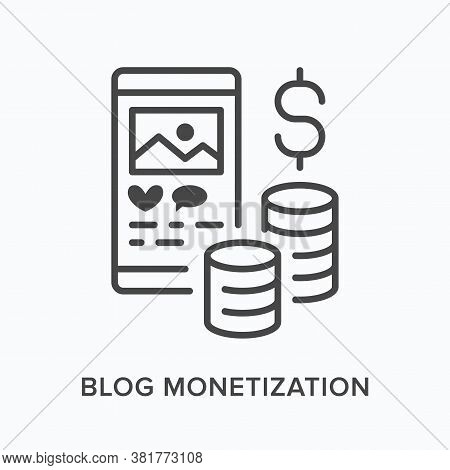 Blog Monetization Flat Line Icon. Vector Outline Illustration Of Smartphone Screen With Money. Socia