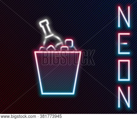 Glowing Neon Line Bottle Of Champagne In An Ice Bucket Icon Isolated On Black Background. Colorful O
