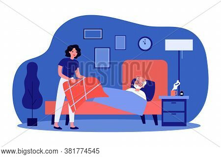Daughter Taking Care About Sick Elderly Father. Woman Giving Blanket To Man Lying In Bed With Thermo