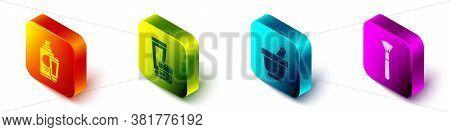 Set Isometric Cream Or Lotion Cosmetic Tube, Cream Or Lotion Cosmetic Tube, Mortar And Pestle And Ma