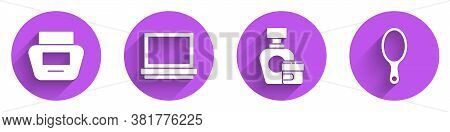 Set Cream Or Lotion Cosmetic Tube, Makeup Powder With Mirror, Cream Or Lotion Cosmetic Tube And Hand