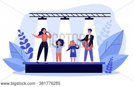 Family Talent Show. Woman And Children Singing With Mic, Man Playing Guitar On Stage Flat Vector Ill