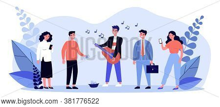Street Musician Playing Guitar. Busker, Performer, People Listening To Music Flat Vector Illustratio