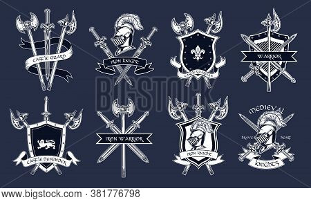 Medieval Knights Accessories Set. Armors, Swords, Helmets, Shields, Axes Illustrations Isolated On D