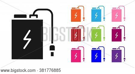 Black Power Bank With Different Charge Cable Icon Isolated On White Background. Portable Charging De