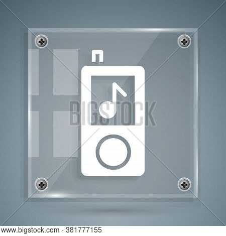 White Music Player Icon Isolated On Grey Background. Portable Music Device. Square Glass Panels. Vec