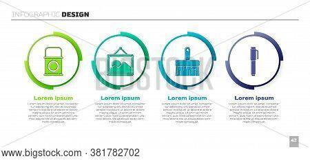 Set Paint Bucket, Picture Landscape, Paint Brush And Pen. Business Infographic Template. Vector