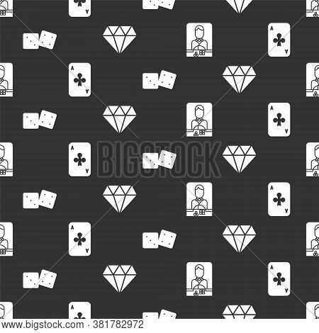 Set Casino Dealer, Playing Card With Clubs, Game Dice And Diamond On Seamless Pattern. Vector